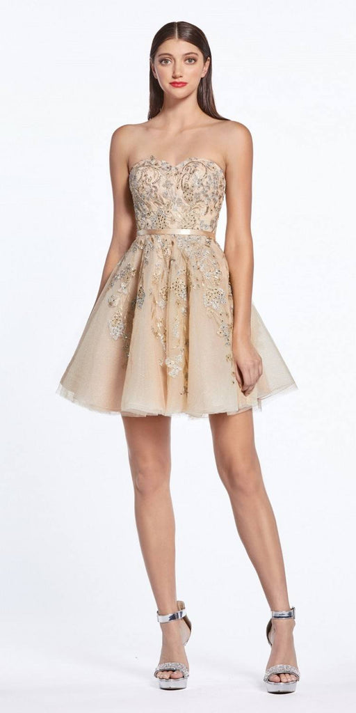 Cinderella Divine KV1048 Appliqued Champagne Homecoming Short Dress Strapless