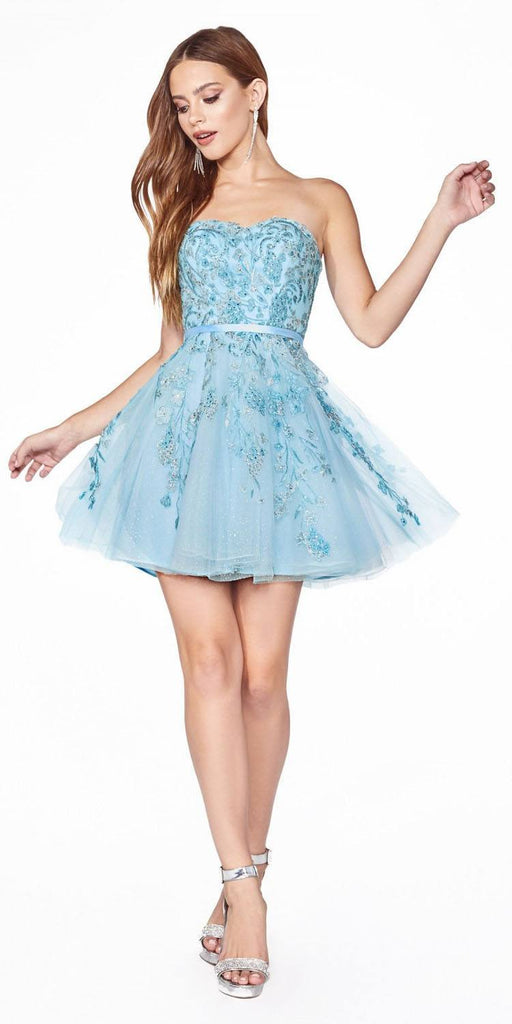 Cinderella Divine KV1048 Appliqued Ice Blue Homecoming Short Dress Strapless