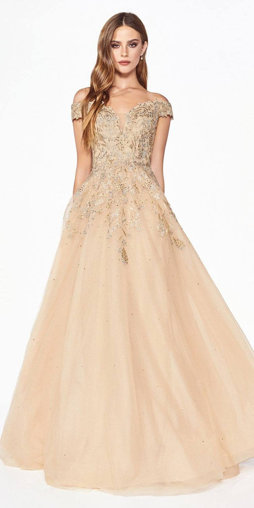Champagne Off-Shoulder Appliqued Prom Ball Gown