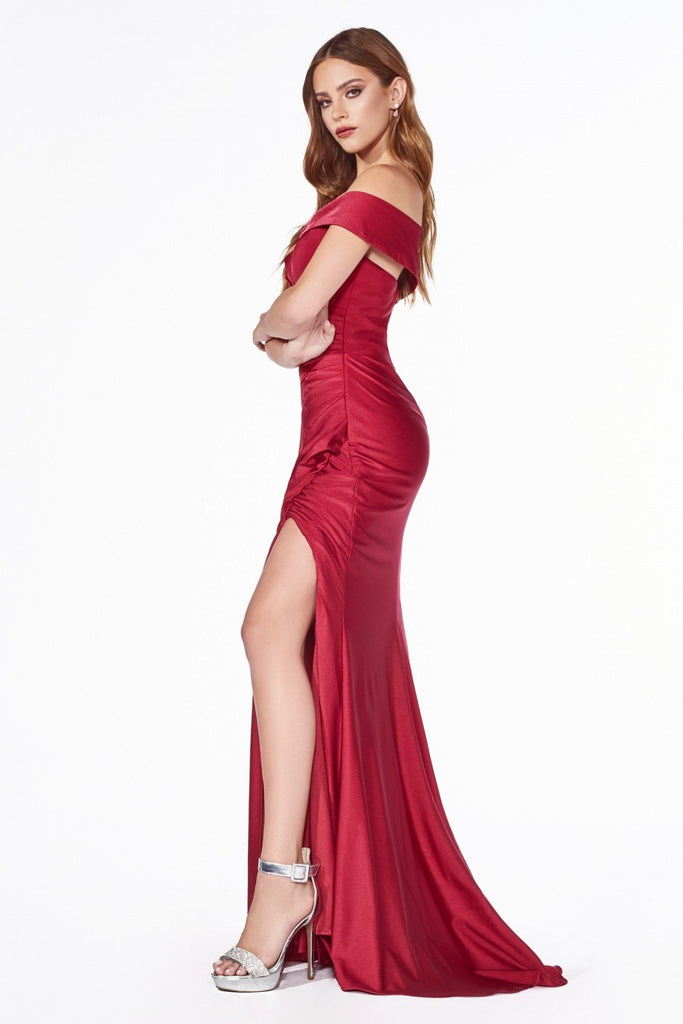 Off-Shoulder with Slit Burgundy Long Prom Dress