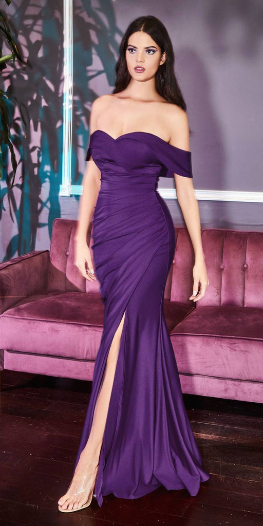 KV1050 Cinderella Divine Off-Shoulder Long Eggplant Sheath Formal Fitted Jersey Dress Slit