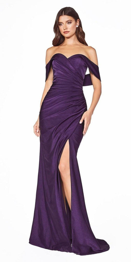 KV1050 Cinderella Divine Off-Shoulder with Slit Eggplant Long Prom Dress