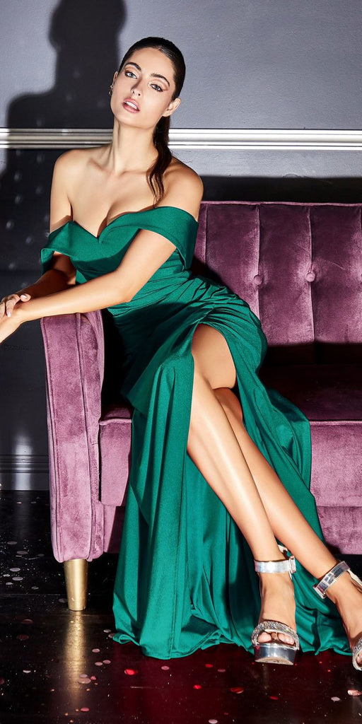 KV1050 Cinderella Divine Off-Shoulder Long Green Sheath Formal Fitted Jersey Dress Slit