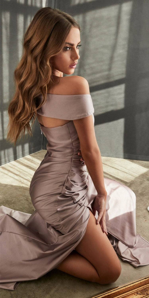 KV1050 Cinderella Divine Off-Shoulder with Slit Mauve Long Prom Dress