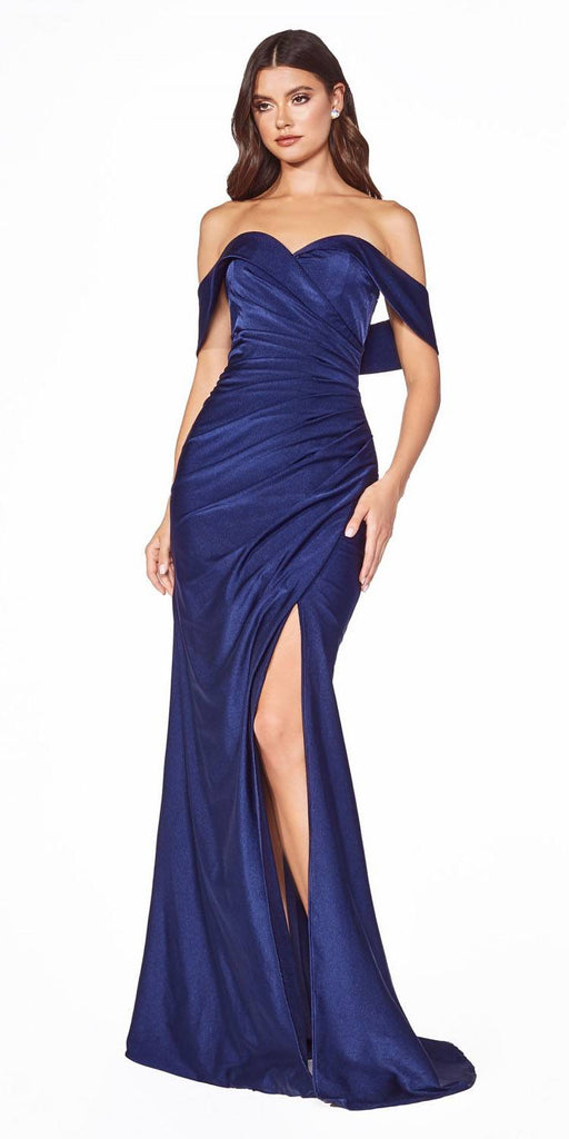 KV1050 Cinderella Divine Off-Shoulder with Slit Navy Blue Long Prom Dress