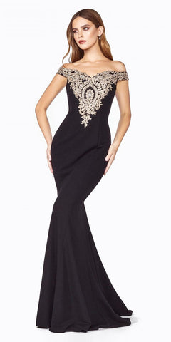 Black Mermaid Off-Shoulder Long Prom Dress Appliqued