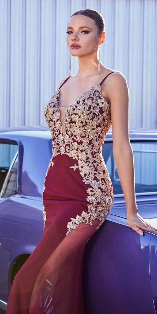 Cinderella Divine KV1054 Mermaid Silhouette Burgundy/Gold Jersey Dress Embroidered Lace Applique