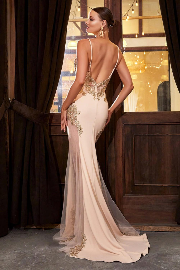 Cinderella Divine KV1054 Mermaid Silhouette Champagne/Gold Jersey Dress Embroidered Lace Applique