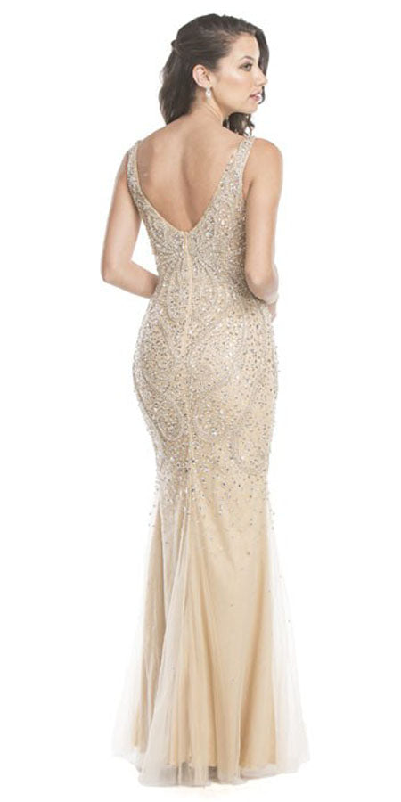 c587a9ac92ce ... Aspeed L1561 Champagne Rhinestone Embellished Evening Gown V-Neck Back  View ...