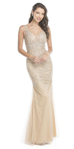 Aspeed L1561 Champagne Rhinestone Embellished Evening Gown V-Neck