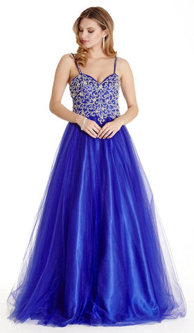 Beaded Bodice A-line Ball Gown with Spaghetti Straps Royal Blue