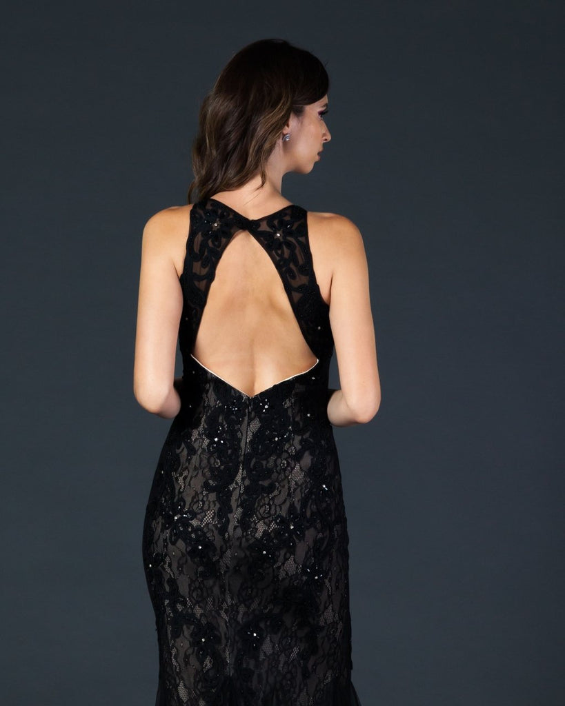 Fitted Lace Black/Nude Mermaid Dress Sleeveless Cut-Out Back