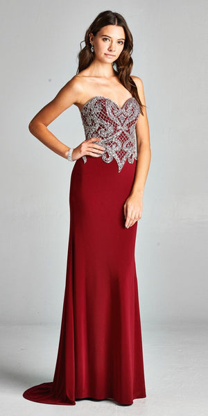 Burgundy Rhinestone Embellished Strapless Prom Gown with Train