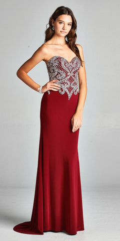 Lace Beaded Long Prom Dress with Spaghetti Straps Champagne