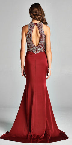 Burgundy Mermaid Long Beaded Prom Dress with Keyhole Back