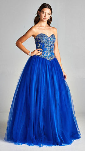 Aspeed L1895 Royal Blue Sweetheart Neckline Beaded Quinceanera Dress Strapless