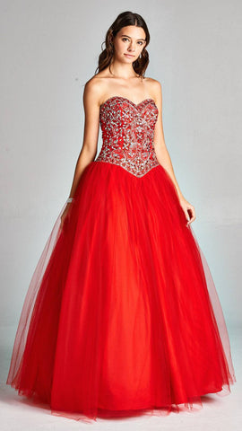 Aspeed 1896 Red Strapless Quinceanera Dress with Rhinestone Embellishments