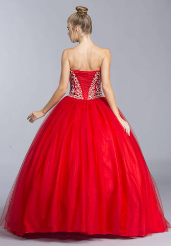 Red Strapless Quinceanera Dress with Rhinestone Embellishments