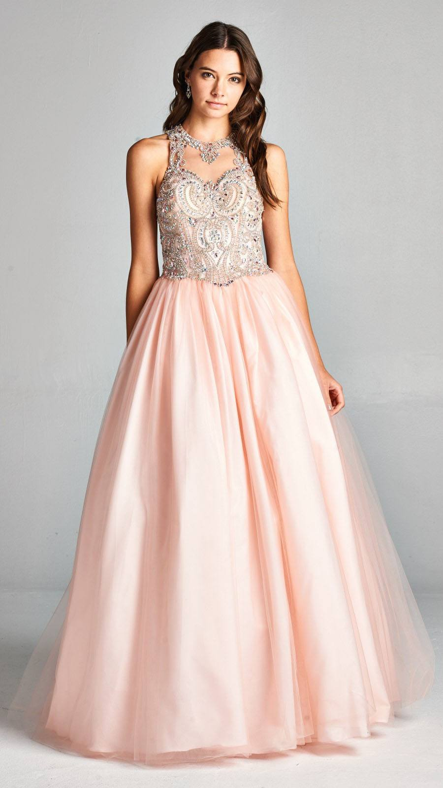 897a9524d4a Aspeed L1898 Blush Quinceanera Dress Illusion Halter Beaded Neckline ...