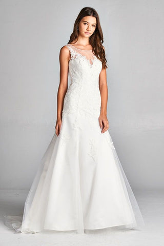 Aspeed 1904 White Sleeveless Wedding Gown A-line with Appliques and Train