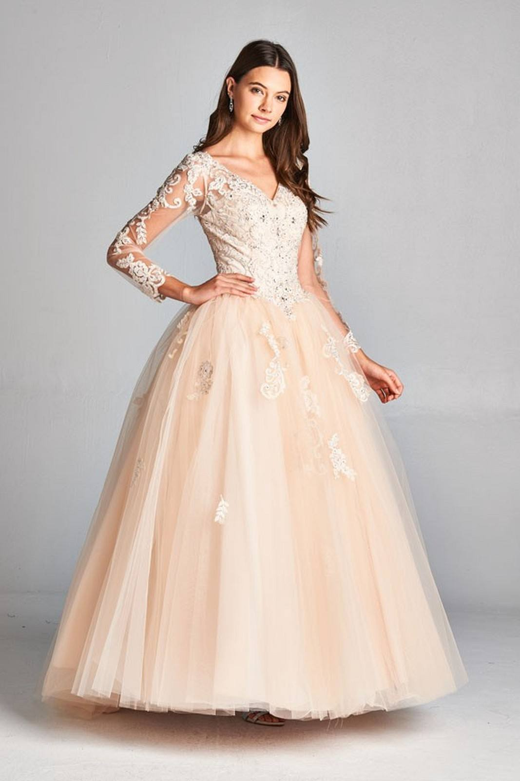 d5ce2e48b18 Aspeed L1905 Champagne V-Neck Quinceanera Dress Long Sleeve with Appliques  ...