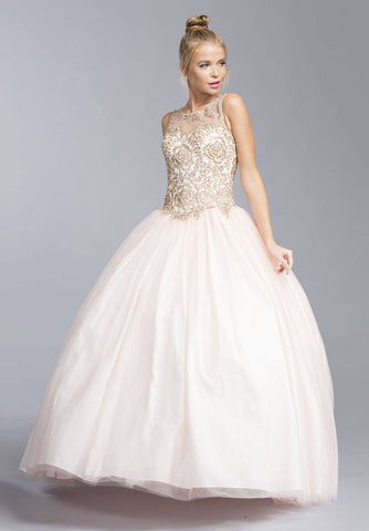 Blush Sleeveless Quinceanera Dress Cut Out Lace Up Back