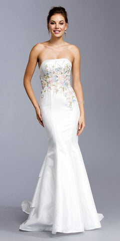 Off White Embroidered Mermaid Long Formal Dress Strapless