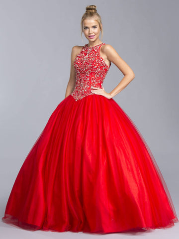 Red Halter Quinceanera Gown Beaded Bodice Cut Out Back