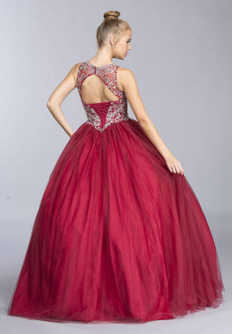 Burgundy Sleeveless Quinceanera Dress Beaded Bodice