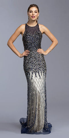 Navy Blue Embellished Floor Length Formal Dress Cut-Out Back