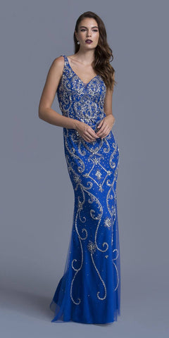 Rhinestone Embellished Evening Gown V-Neck Royal Blue
