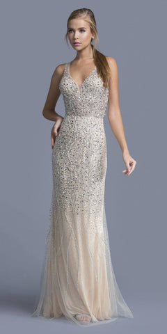 Cut-Out Back Rhinestone Embellished Prom Gown Champagne