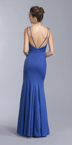 Royal Blue Long Formal Dress V-Back with Spaghetti Straps