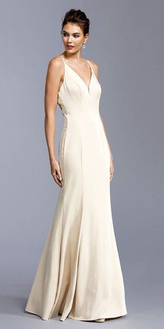 Champagne Open Embellished Back Long Formal Dress with V-Neck
