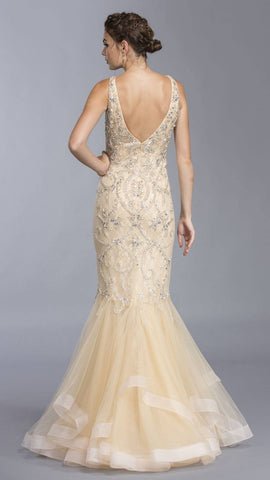 Champagne Rhinestone Embellished Tiered Mermaid Prom Gown
