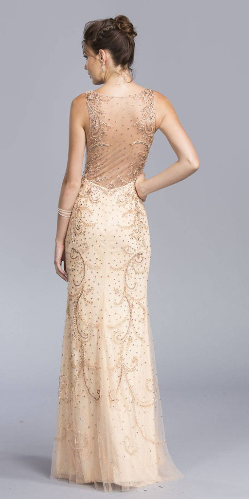 Illusion Lace Beaded Evening Gown Nude Sleeveless