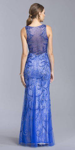 Illusion Lace Beaded Evening Gown Royal Blue Sleeveless
