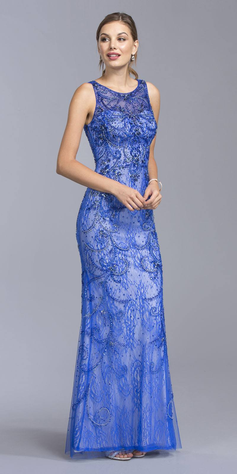 Aspeed USA L1940 Illusion Lace Beaded Evening Gown Royal Blue ...