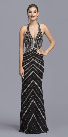 Black Halter Beaded Evening Gown with Side Cut-Outs