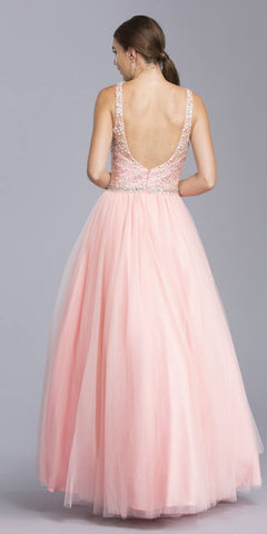 V-Neck Embroidered Quinceanera Dress Open Back