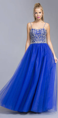 Royal Blue Beaded Tulle Prom Gown with Spaghetti Straps