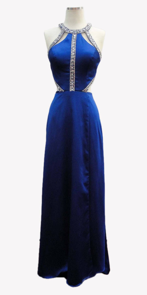 Aspeed L1946 Cut Out Halter Bodice A-line Long Prom Dress Royal Blue Pockets