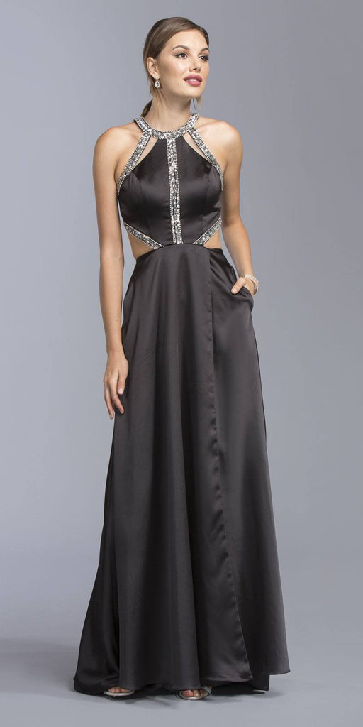 Aspeed USA L1946 Cut Out Halter Bodice A-line Long Prom Dress Black with Pockets