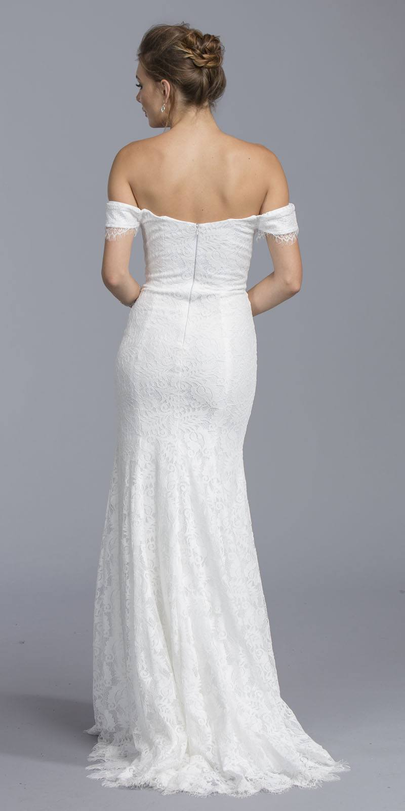 Aspeed USA L1947 White Mermaid Lace Wedding Gown Off-Shoulder ...