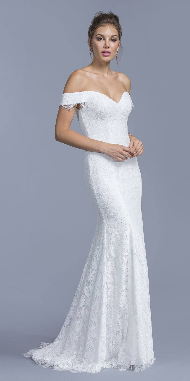6becd9106c56 Aspeed USA L1947 White Mermaid Lace Wedding Gown Off-Shoulder ...