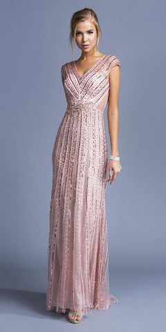 Cap Sleeved Sequins Embellished Long Formal Dress Blush