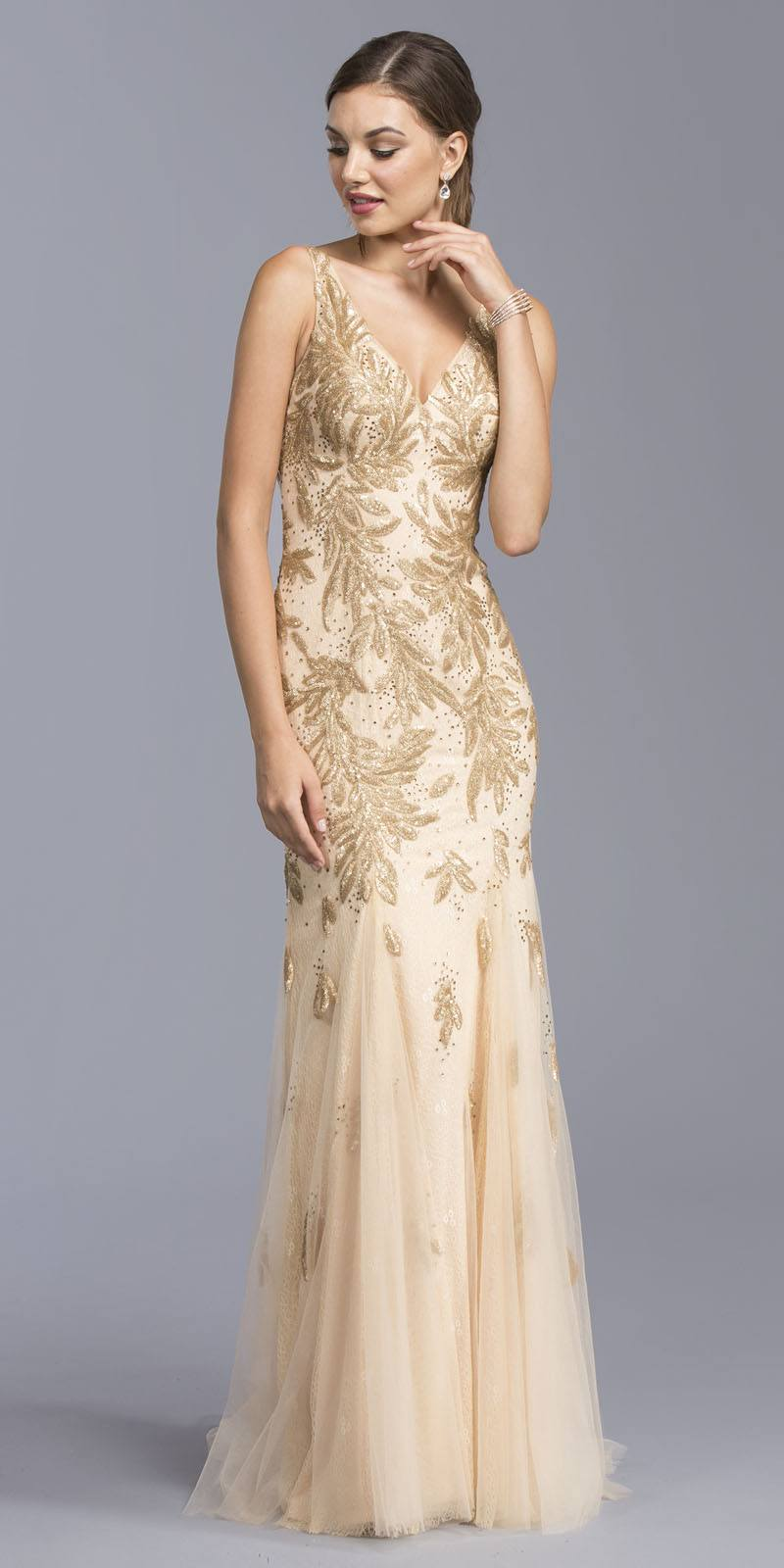 Aspeed USA L1963 Gold V-Neck Evening Gown Appliqued with Sequins ...