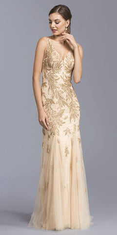 Gold V-Neck Evening Gown Appliqued with Sequins