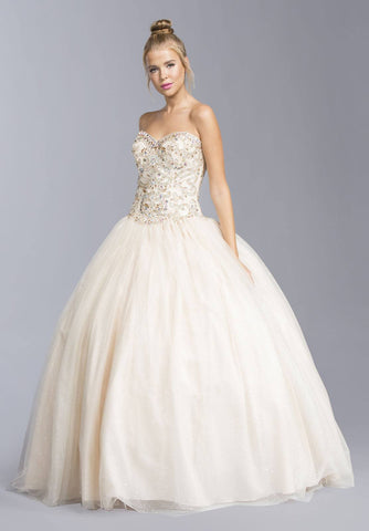 Champagne Sweetheart Neckline Beaded Quinceanera Dress Strapless