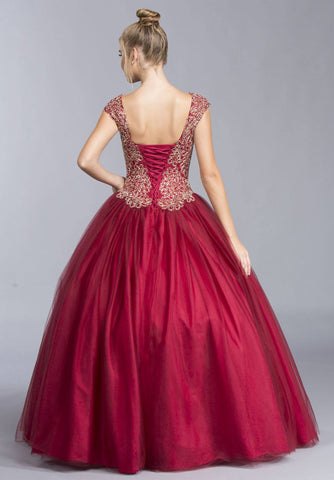 Cap Sleeve Sweetheart Neckline Quinceanera Dress Burgundy